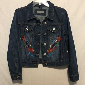 Bagatelle Embroidery Flowers Jean Jacket Womens M